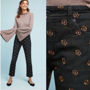 Anthropologie Pilcro Floral Embroidered Jeans 31
